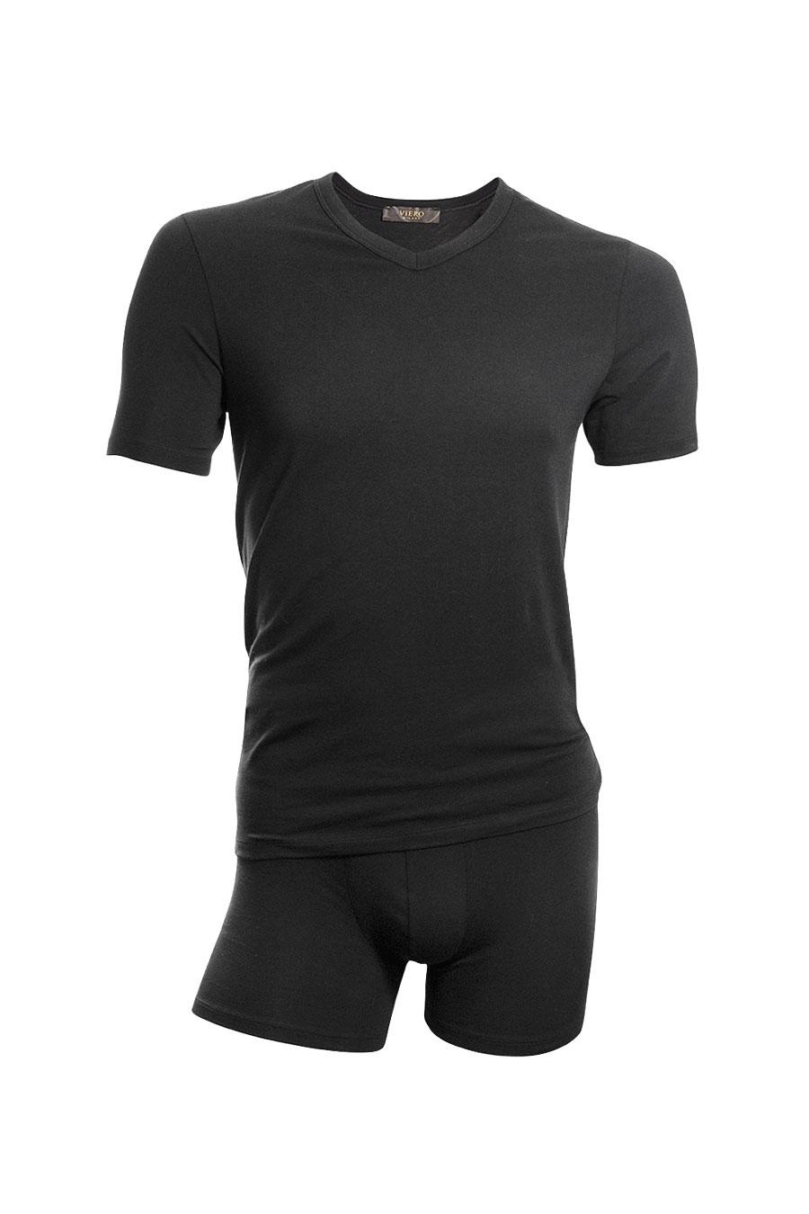 Svart modal tskjorte. Undertøy fra Viero Milano i modal er ekstremt mykt og behagelig mot huden.