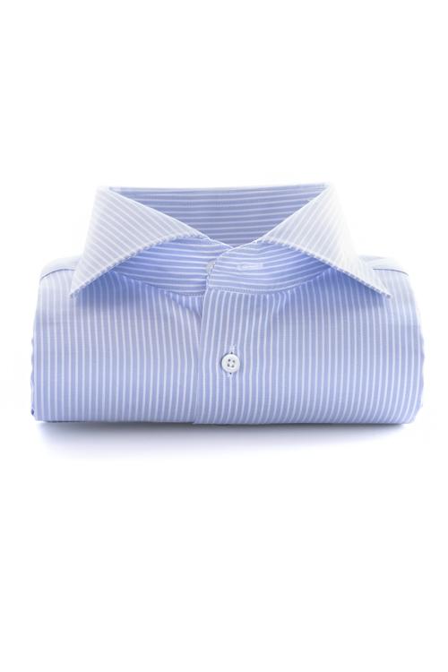 Strykefri skjorte, Venezia, blå og hvit pin, Slimfit