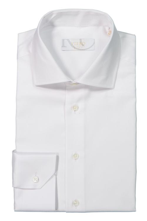 Hvit ensfarget skjorte i 2-ply bomull med perlemorsknapper. Menswear Oslo, trondheim og nettbutikk.