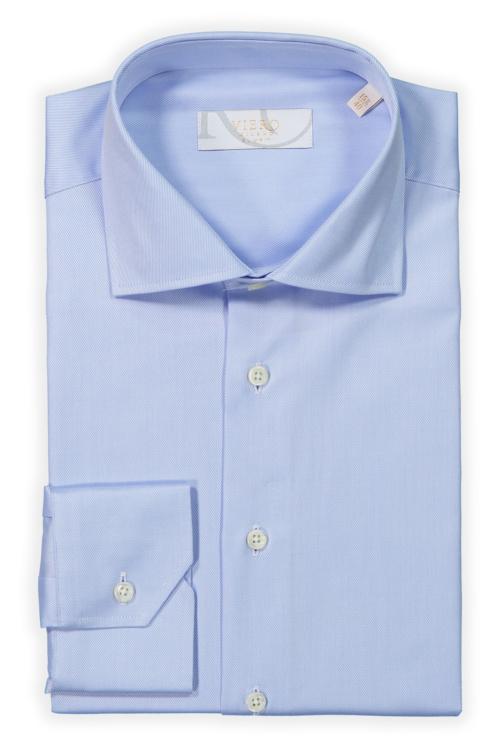 Lyseblå ensfarget skjorte i 2-ply bomull. Menswear Oslo og Trondheim.