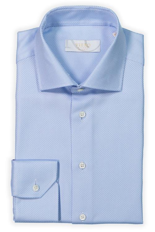 Lyseblå skjorte med 2-ply stoff fra Cotonificio Albini.