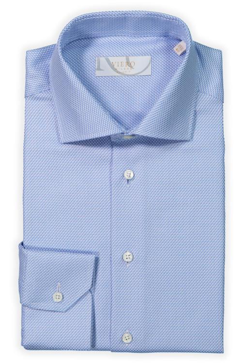 Blå skjorte med diskret mønster. 2-ply bomull fra Albini