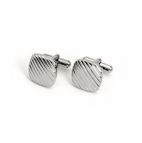 Mansjettknapper, sølvfarge med striper