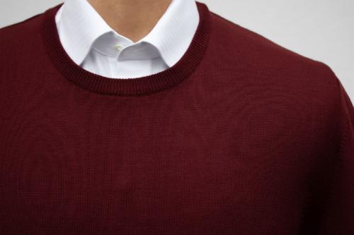 genser i merinoull med rund hals