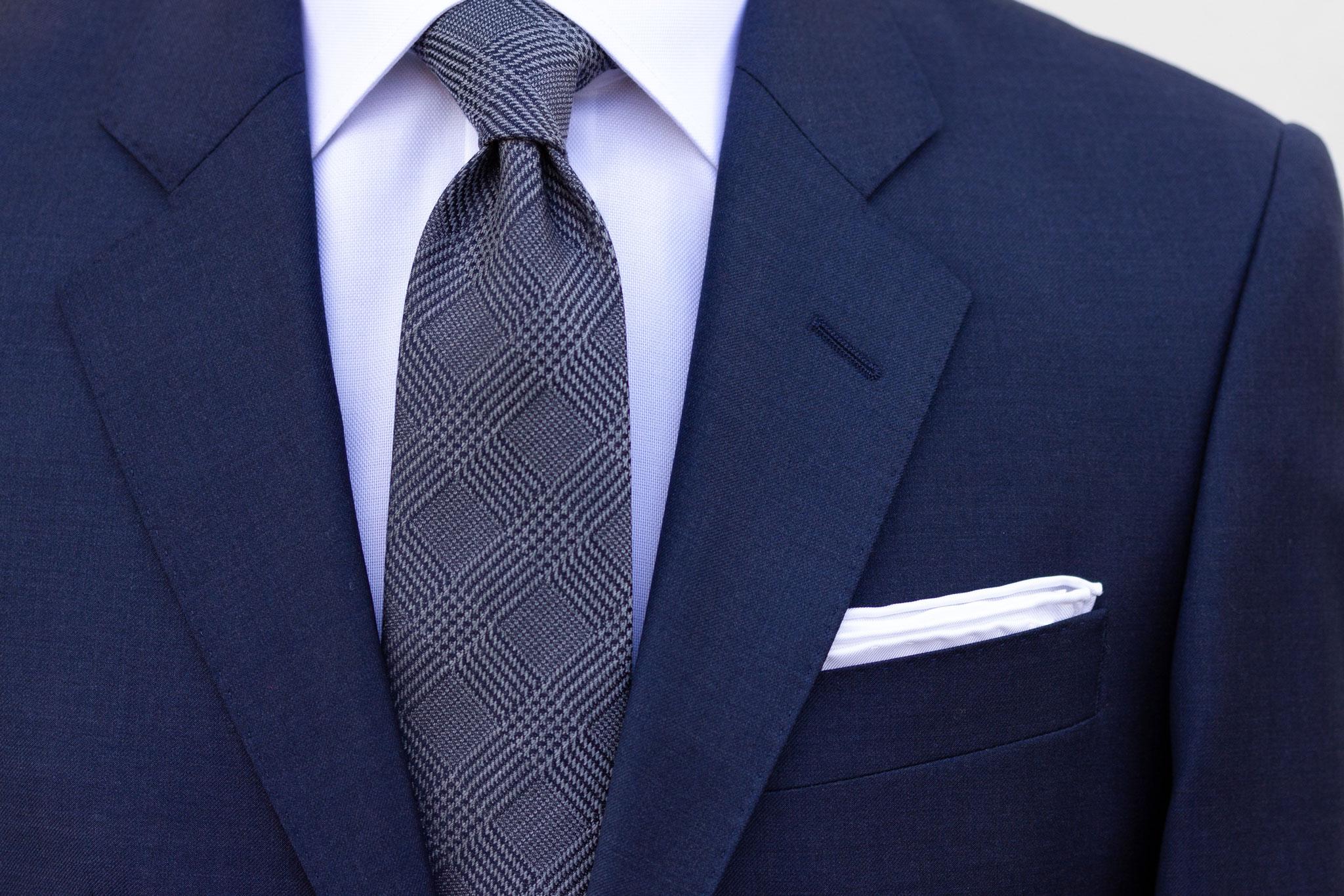 Mørkeblå melert dress med Super 130's stoff fra Cerruti. Dress Oslo og Trondheim