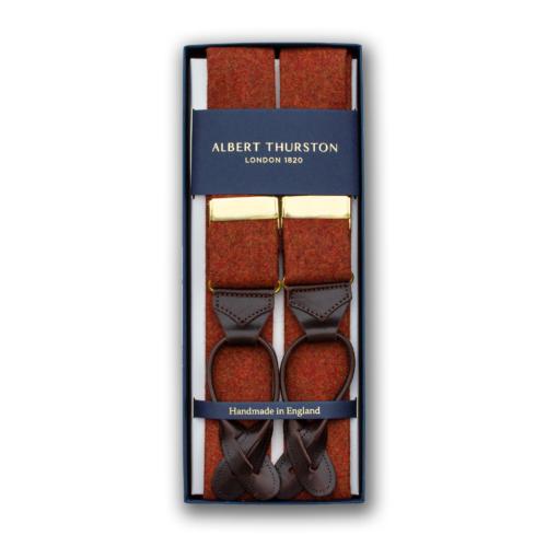 Orange bukseseler i flanell fra Albert Thurston.