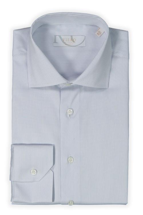 Skjorte hvit med lyseblå smal pin