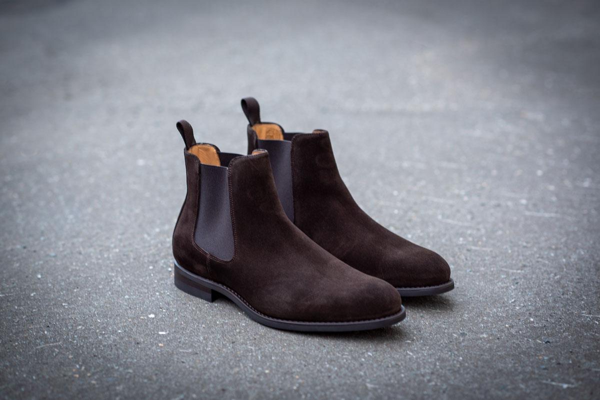 Chelsea boot mørkebrun semsket skinn