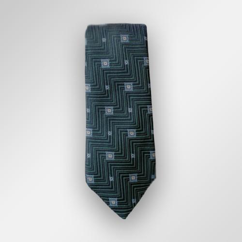 Mørkegrønt slips med mønster i silke fra Viero Milano