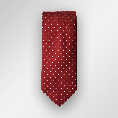Rødt slips med hvite prikker. Viero Milano, 100% silke