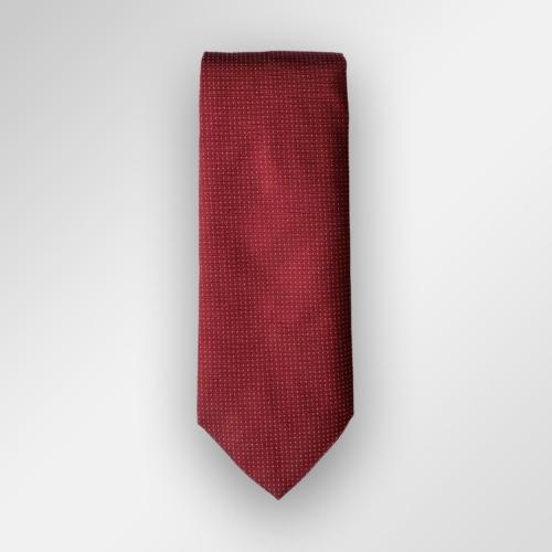 Rødt slips med hvite små prikker