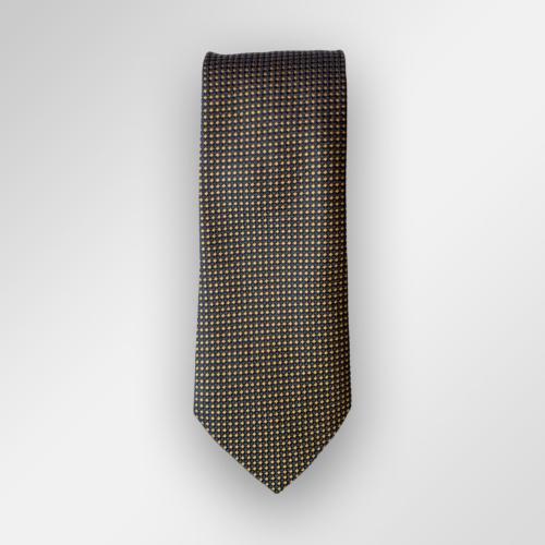 Navy og gult micromønstret slips fra Viero Milano