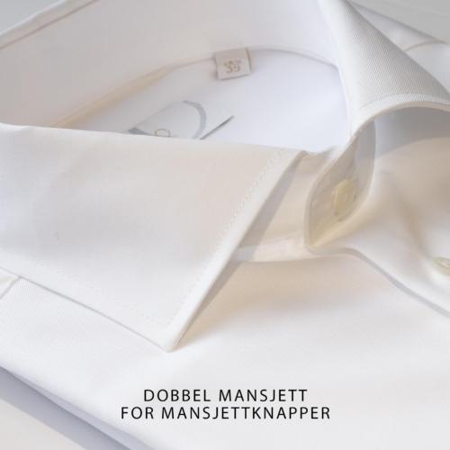 Hvit skjorte med dobbel mansjett. Menswear Hegdehaugsveien