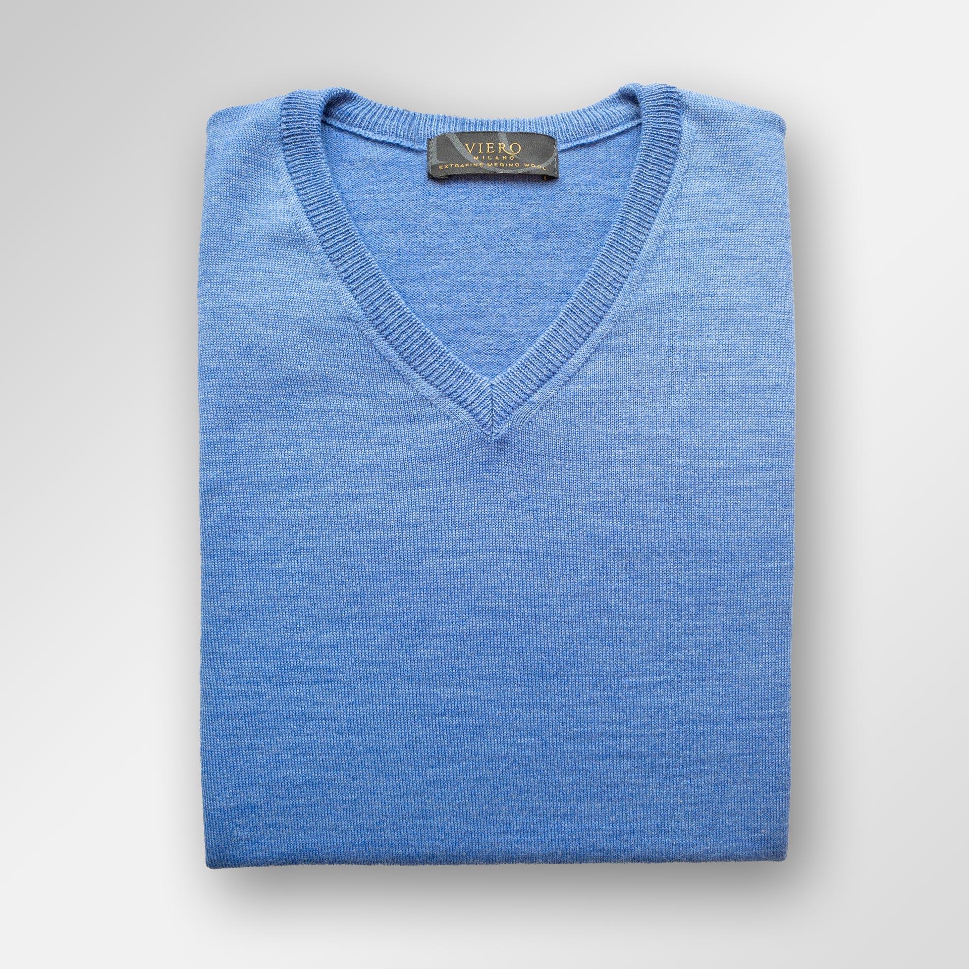 Melert blå Merinoull genser | Herre | Genser på