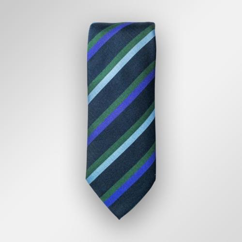 Navy slips med grønne, lilla og lyseblå striper.