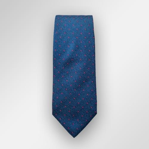 Blått slips med røde ruter