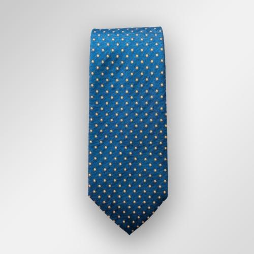Blått slips med gule prikker