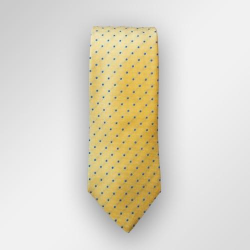 Gult slips med blå prikker.