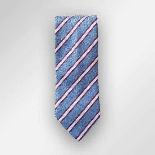 Lyseblått slips med burgunder og hvite striper