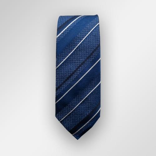 Mørkeblått slips med striper