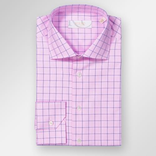 Rosa skjorte med blå ruter