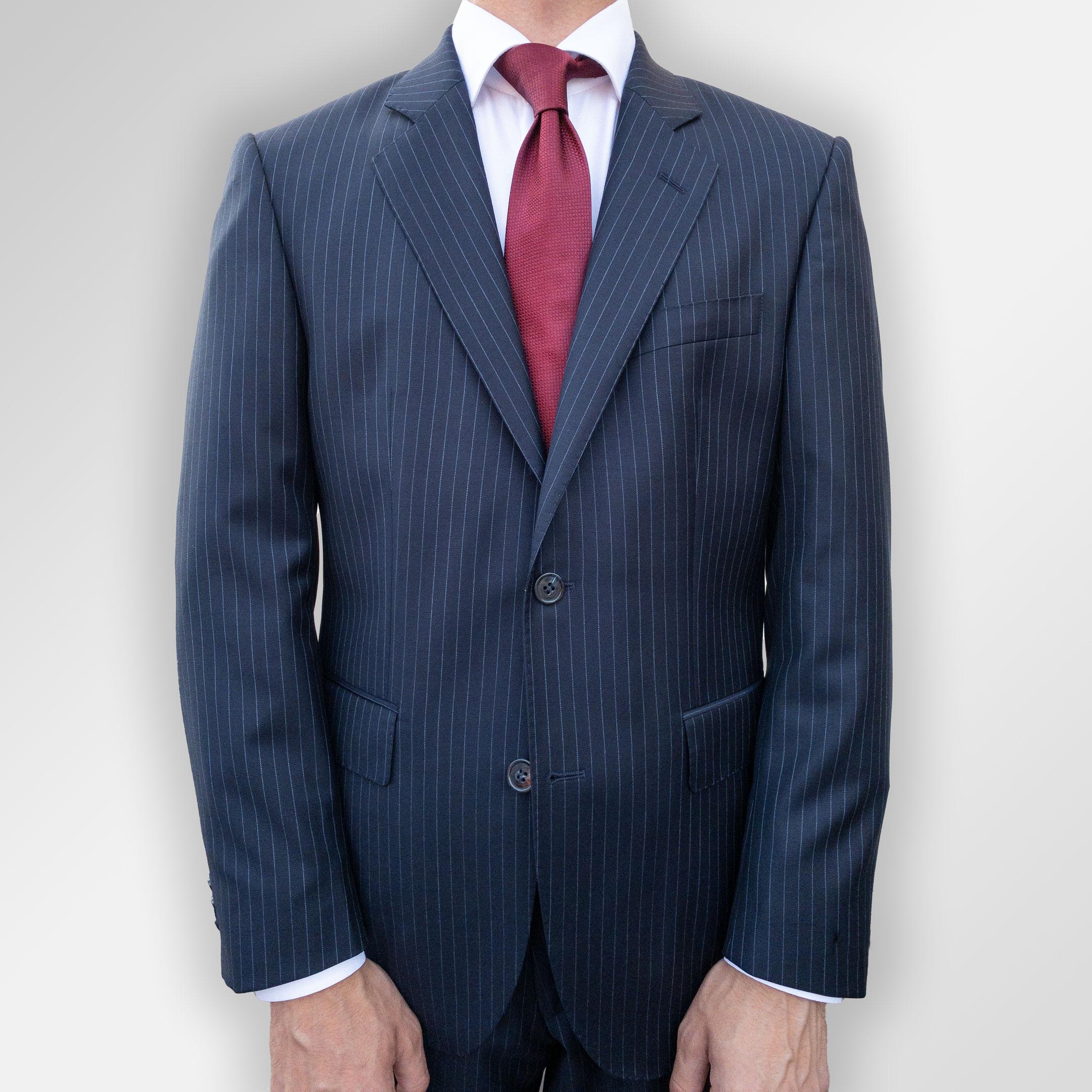 Dress, navy pinstripe