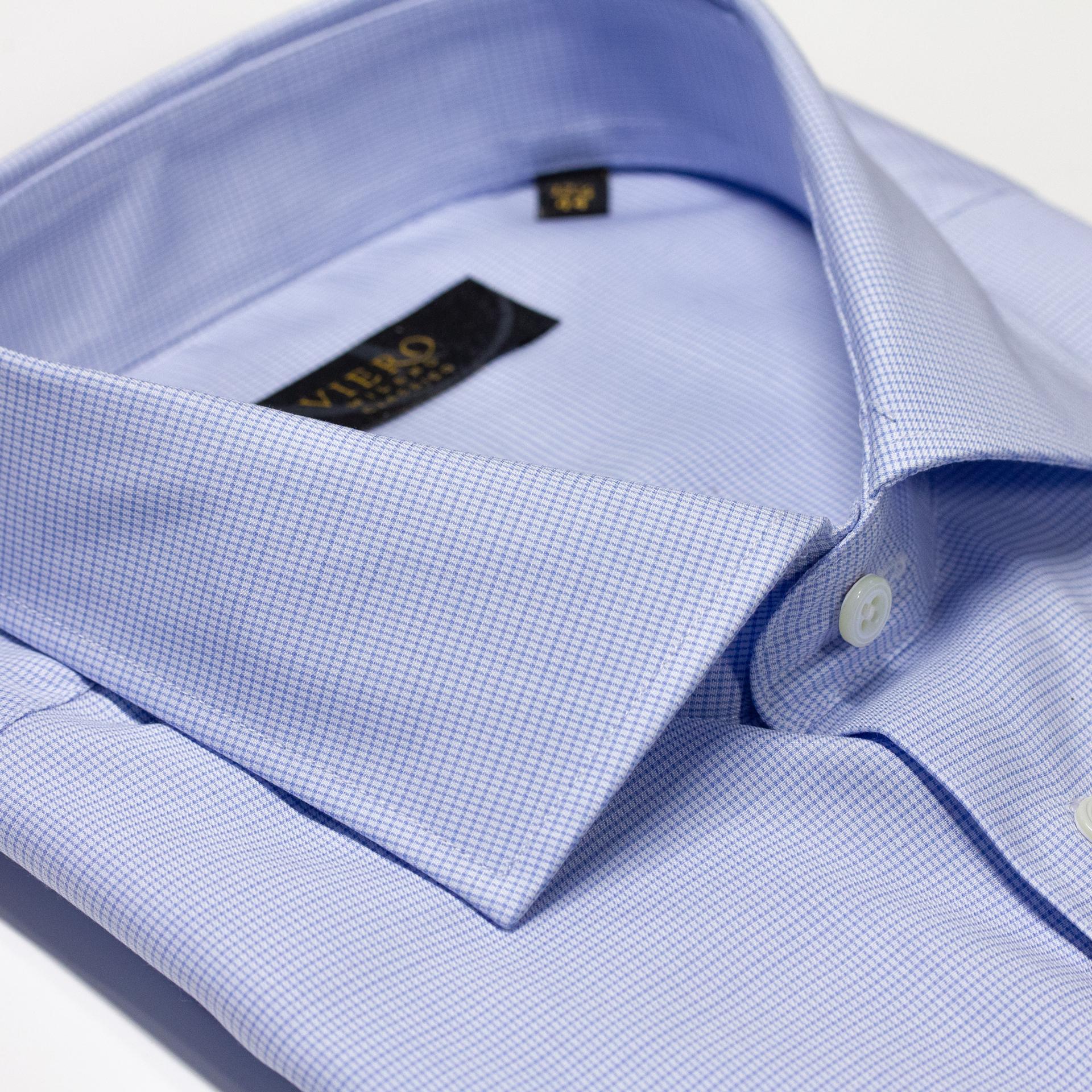 Skjorte, mørkeblå pin, Slimfit fra Viero Milano. Menswear.no