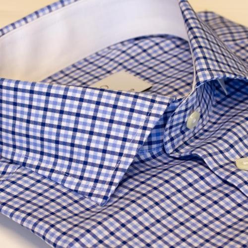 Rutete skjorte med hvit kontrast. Menswear Oslo