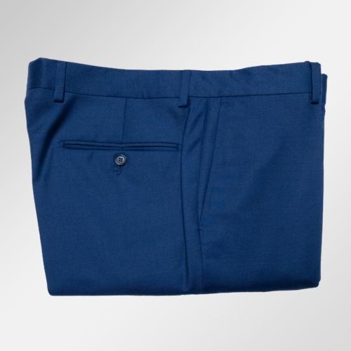 Blå ensfarget bukse i ull.